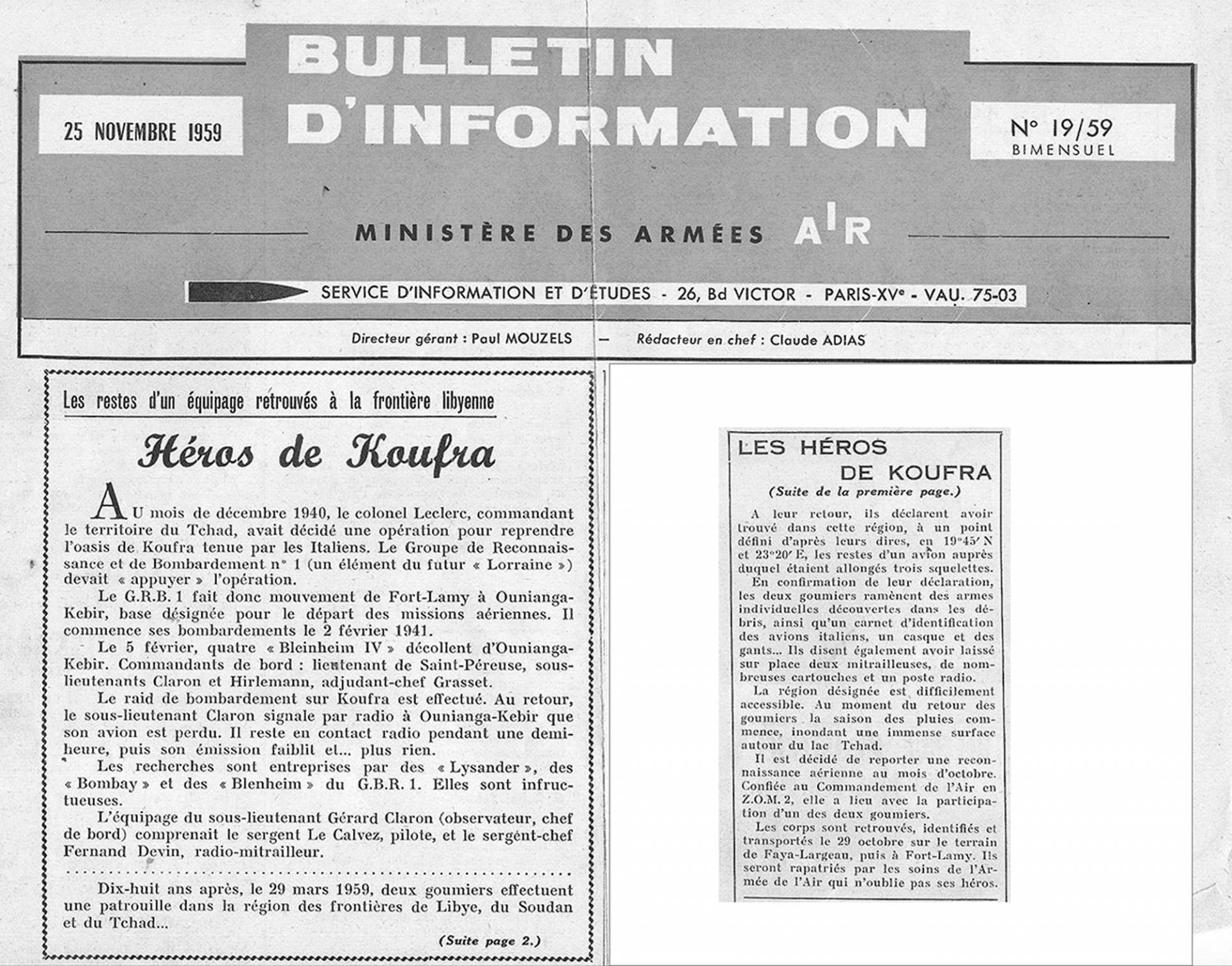 Bulletin info 1959 11 26